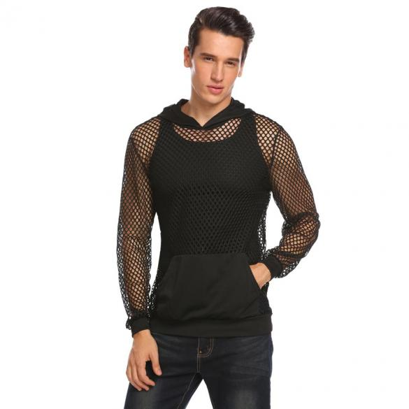 cf39604d3c7 Black Men Hooded Sexy Hollow Out Perspective T Shirt Long Sleeve Fishnet
